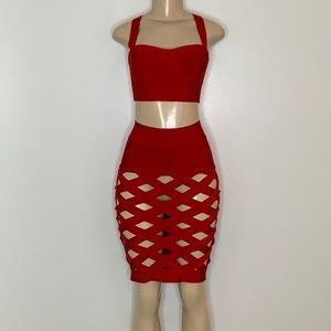 Fashion Nova Red Cage 2 Piece Skirt Set